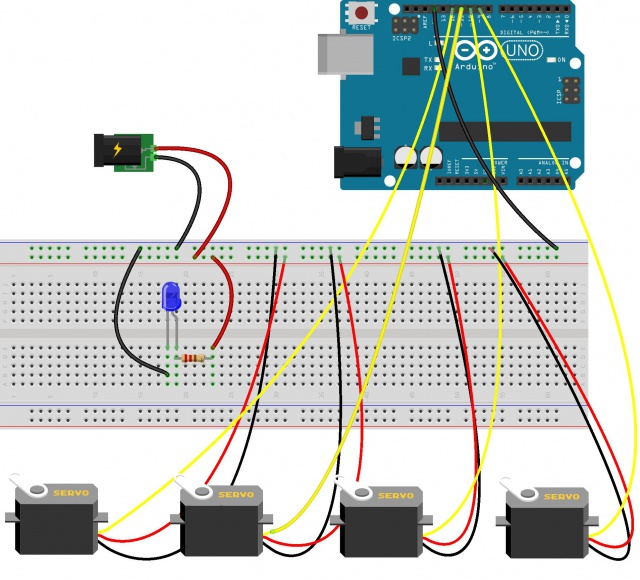 Arduino wiring setup with the servos